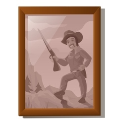 Wall picture in frame portrait of american hunter vector