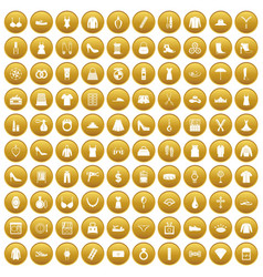 100 womens accessories icons set gold vector
