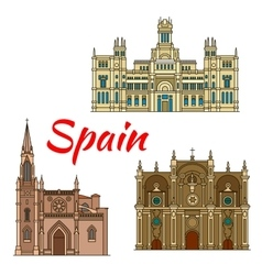 Historic buildings and architecture of spain vector
