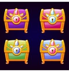 Cute fantasy decorative treasure chest vector