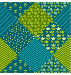 Blue and green color tulip flower and geometry vector