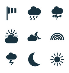 climate icons set collection of flag sun-cloud vector image