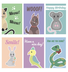 colorful hand drawn pets brochures vector image