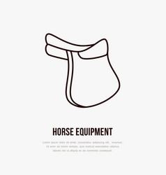 horse saddle polo flat line icons vector image
