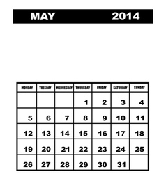 May calendar 2014 vector image