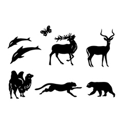 Set - silhouettes of animals vector