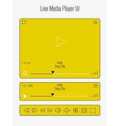 Modern line media player template vector