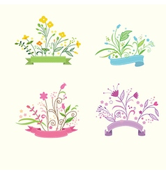 Flower labels vector