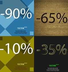 65 10 35 icon set of percent discount on abstract vector