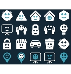 Tools options smiles objects icons vector