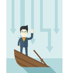 Failure chinese businessman standing on a sinking vector