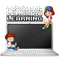 Boy and girl using computer vector