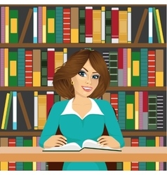 Friendly student girl studying in library vector