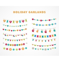 Garland - patterns brushes for christmas vector
