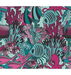 colorful seamless sea pattern with tropical fishes vector image