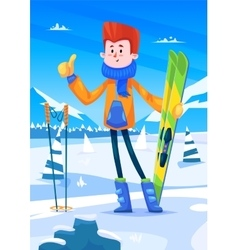 Ski resort holidays skier snow background flat vector
