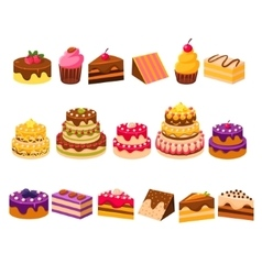 Different cakes collection vector