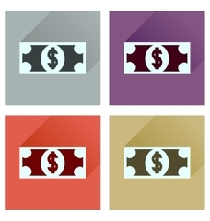 Concept flat icons with long shadow dollar vector