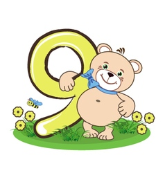 The number nine and cheerful bear vector