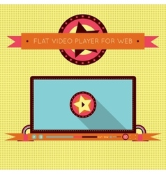 Retro vintage video player interface for web vector