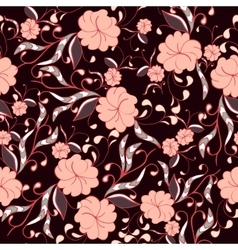 Beautiful seamless floral pattern in bright pink vector image