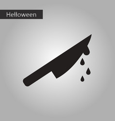 Black and white style icon halloween knife blood vector