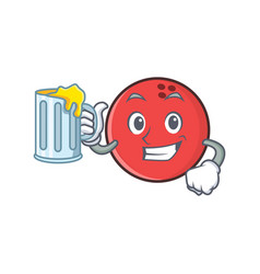 bowling ball character cartoon with juice vector image