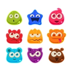 Bright Jelly Characters with Emotions vector image