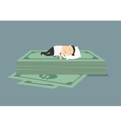 Businessman sleeping on dollar money stack vector image vector image