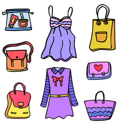 Clothes and bag women of doodles vector