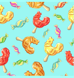 Cockerel candy pattern caramel on stick vector