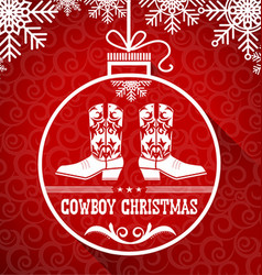 Cowboy red christmas card with text on ball vector image vector image