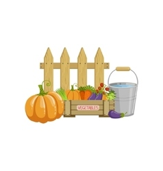 Crate of vegetables bucket with water and a fence vector