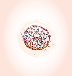 Donut with white cream Hand drawn sketch on pink vector image vector image