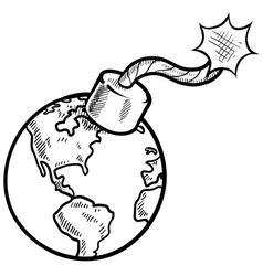 doodle bomb earth vector image vector image