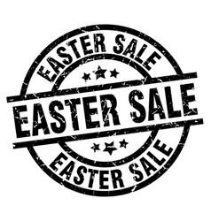 easter sale round grunge black stamp vector image vector image