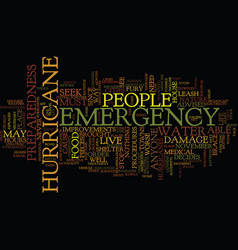 Emergency preparedness for a hurricane text vector