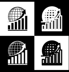 Growing graph with earth black and white vector
