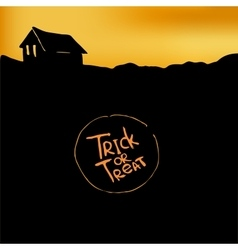 Halloween background with silhouette of hut vector
