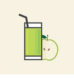 Healthy refreshment a glass of apple fruit juice vector