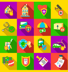 Insurance icons set flat style vector