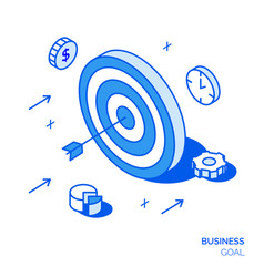 isometric business goal line style design concept vector image