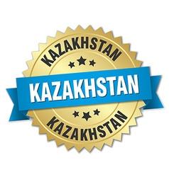 Kazakhstan round golden badge with blue ribbon vector