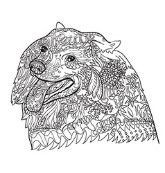 Line art of cute spritz dog with pattern for vector