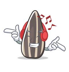 Listening music sunflower seed mascot cartoon vector