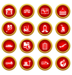 Logistic icon red circle set vector