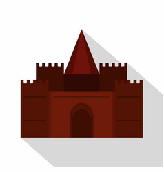 medieval palace icon flat style vector image vector image