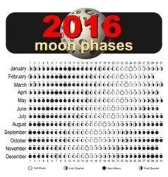 Moon calendar 2016 vector