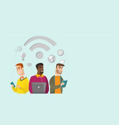 Multiracial businessmen working under wifi symbol vector