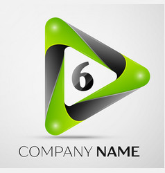 number six logo symbol in the colorful triangle on vector image